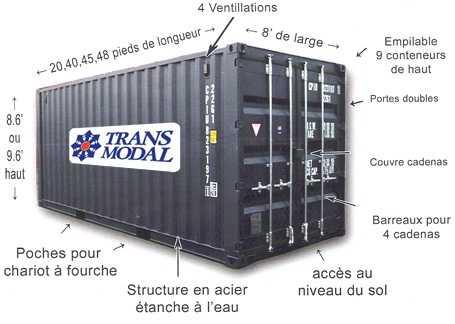 Conteneur 20p et 40p for Container en francais